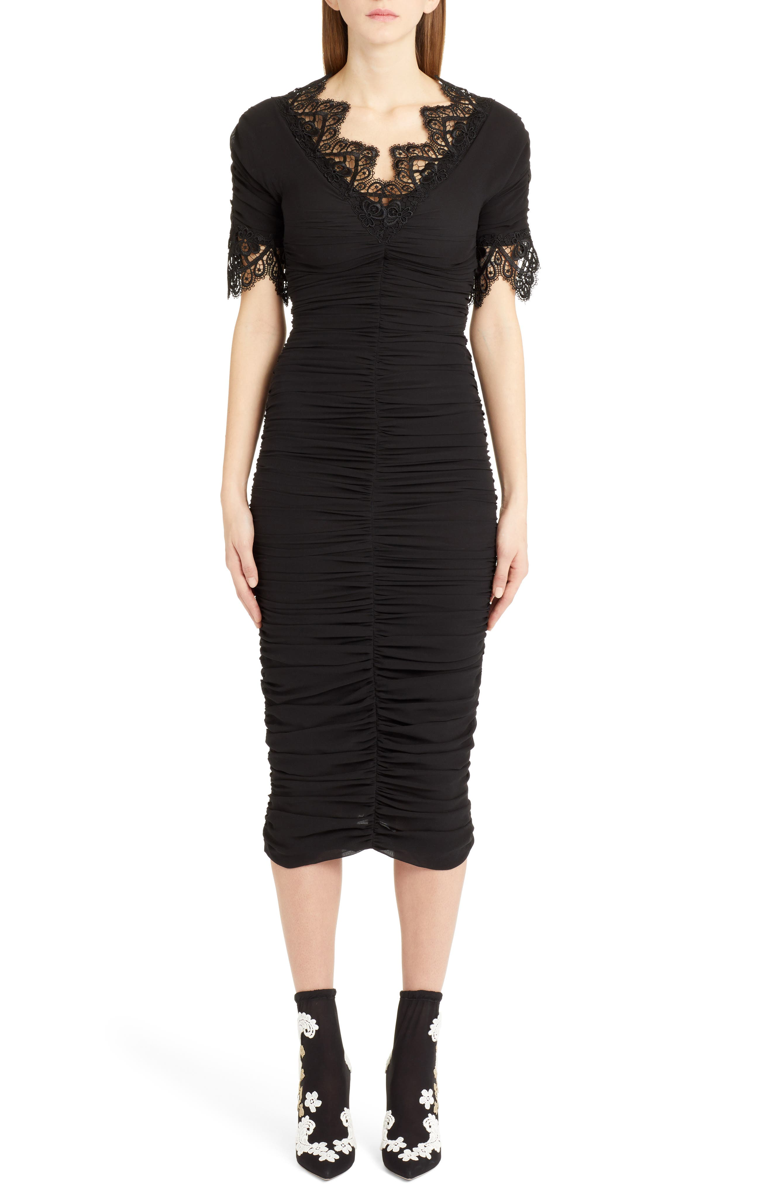 Dolce & gabbana Lace Trim Ruched Silk Blend Dress, US / 40 IT - Black