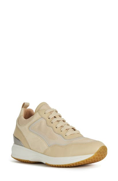 Geox Happy Sneaker In Sand/light Taupe Nappa Leather