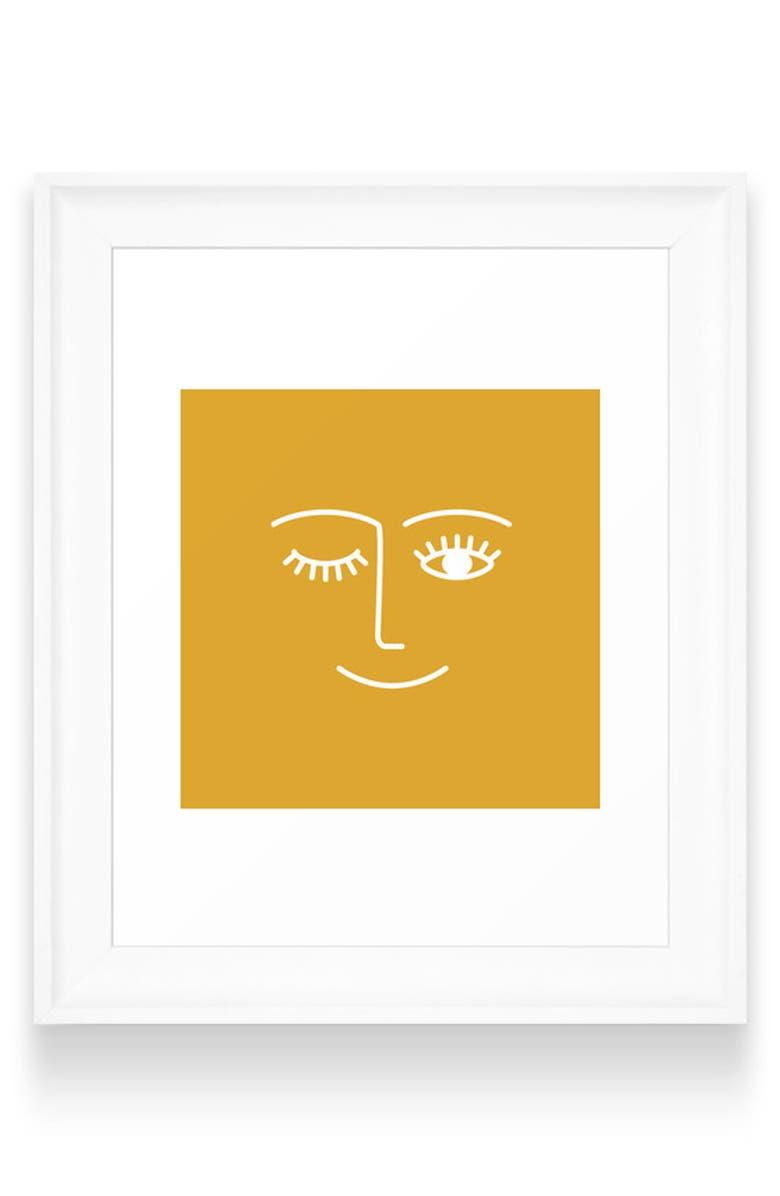 DENY DESIGNS Wink Art Print, Main, color, WHITE FRAME