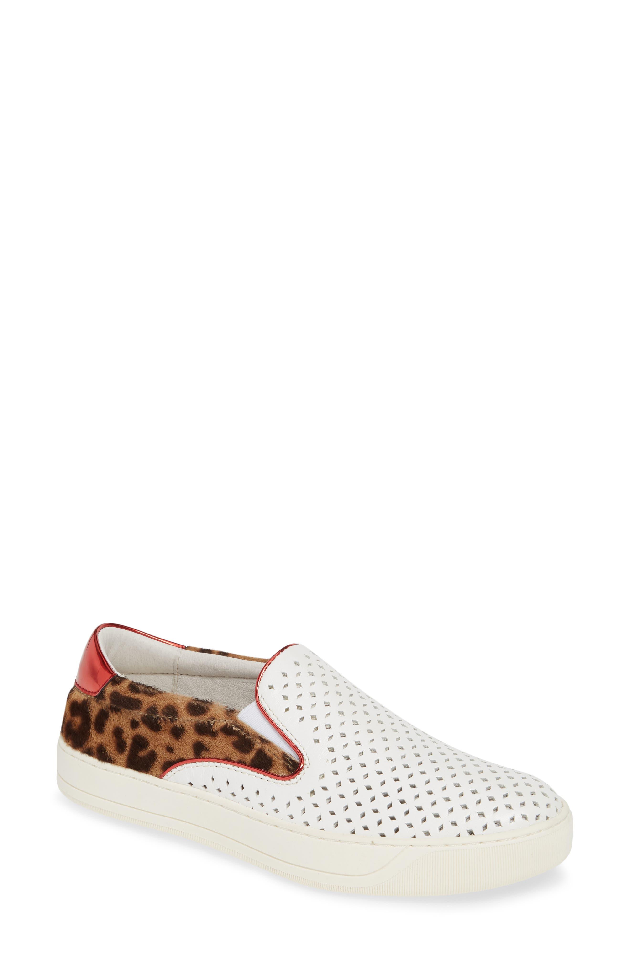 ,                             Elaine Perforated Genuine Calf Hair Slip-On Sneaker,                             Main thumbnail 1, color,                             WHITE LEATHER/ PRINT CALF HAIR