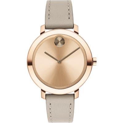 Movado Bold Leather Strap Watch,