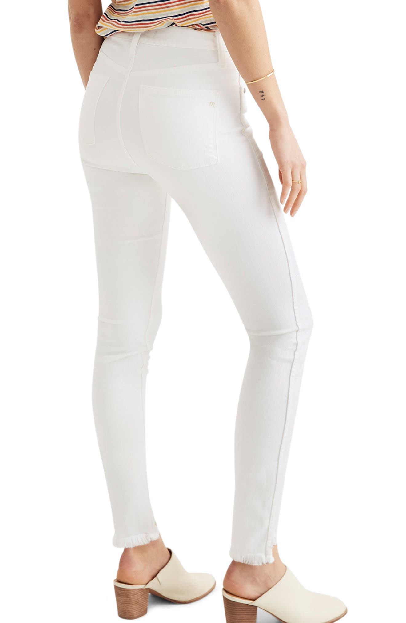 ,                             10-Inch High Waist Button Front Ankle Skinny Jeans,                             Alternate thumbnail 2, color,                             PURE WHITE