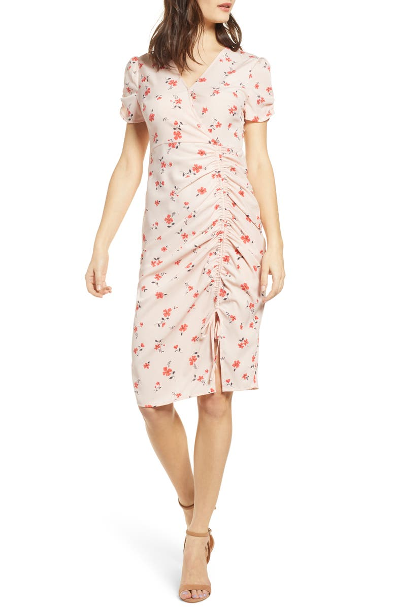 J.O.A. Cinch Front Dress, Main, color, DITSY FLORAL PRINT