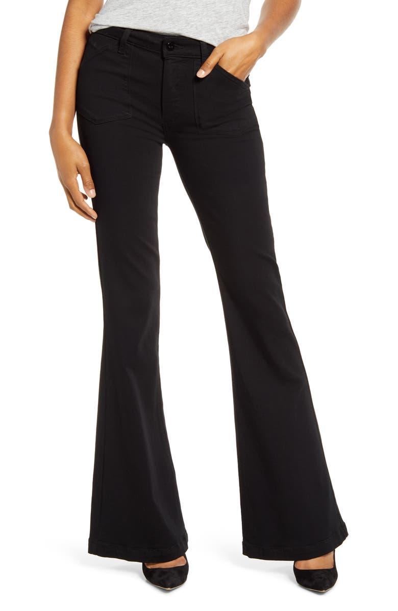 PAIGE Transcend - Genevieve High Waist Flare Jeans, Main, color, BLACK SHADOW