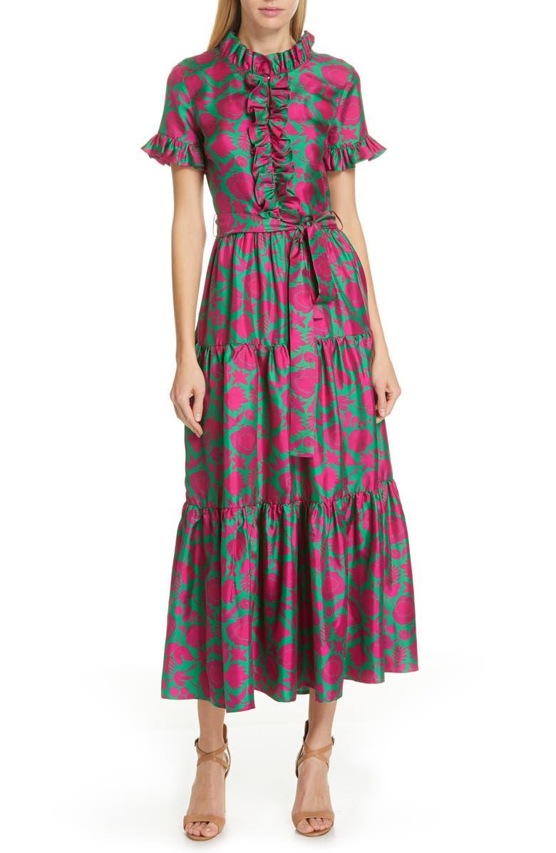LA DOUBLEJ Long & Sassy Print Silk Twill Dress, Main, color, 650