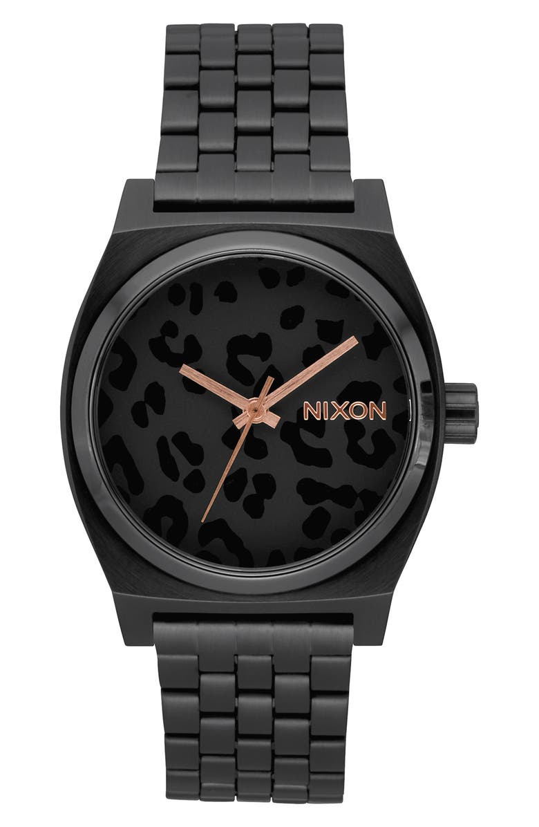 NIXON 'The Time Teller' Watch, 37mm, Main, color, BLACK/ CHEETAH/ BLACK