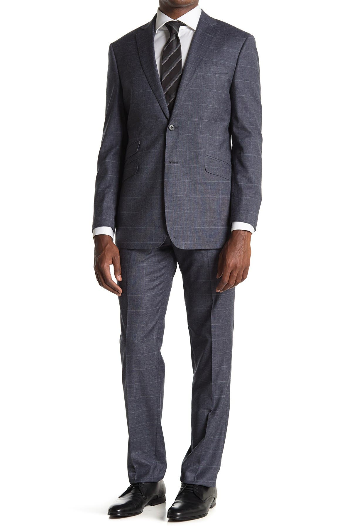Image of English Laundry Grey Plaid Two Button Notch Lapel Suit