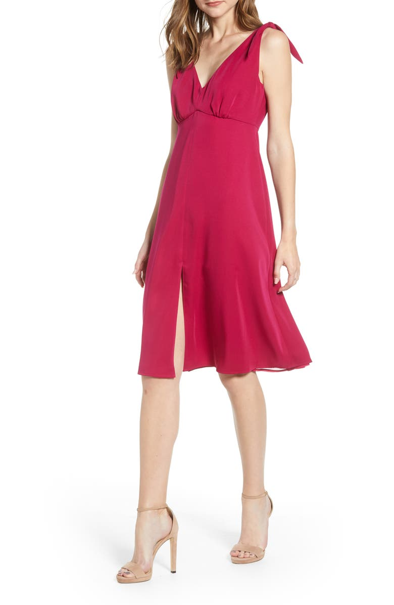 CUPCAKES AND CASHMERE Tie Shoulder Crepe Dress, Main, color, FUCHSIA
