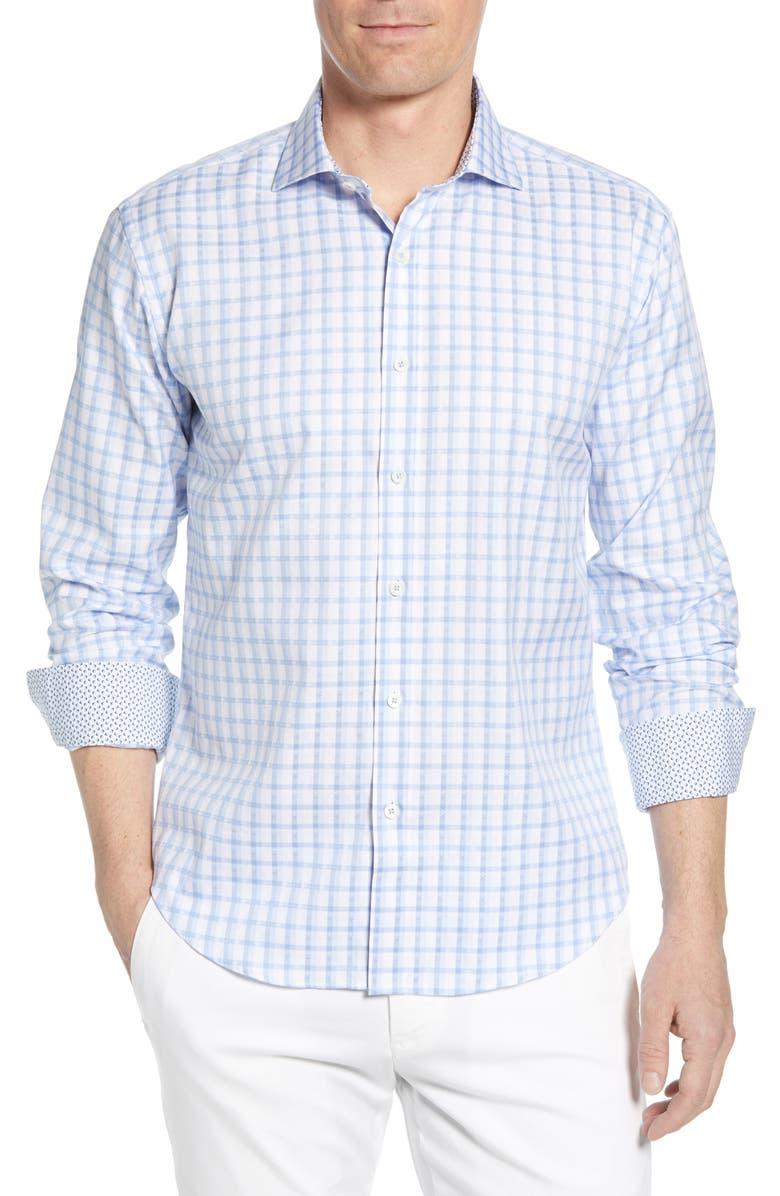 BUGATCHI Shaped Fit Check Cotton Shirt, Main, color, SKY