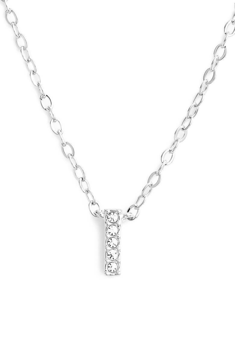 NADRI Initial Pendant Necklace, Main, color, I SILVER