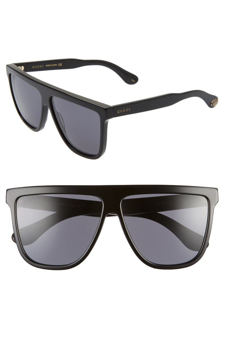 GUCCI 61mm Oversize Flat Top Sunglasses, Main, color, SHINY BLACK