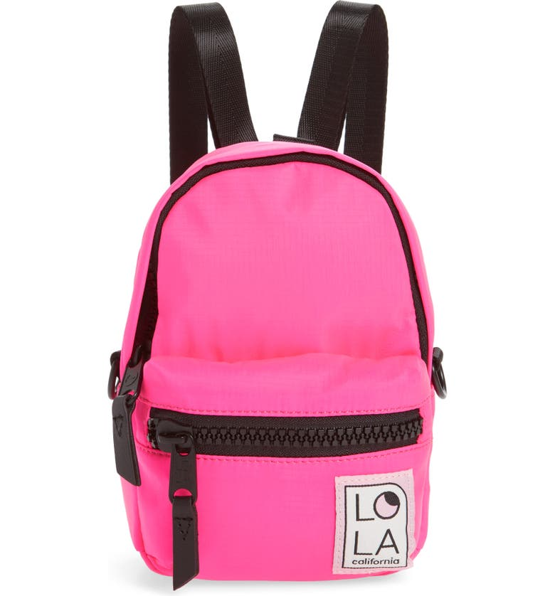 LOLA LOS ANGELES Stargazer Mini Convertible Backpack, Main, color, LASER PINK