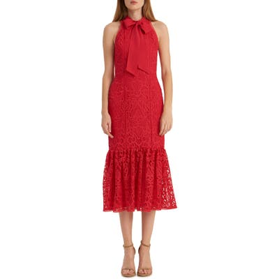 Ml Monique Lhuillier Embroidered Lace Trumpet Dress, Red