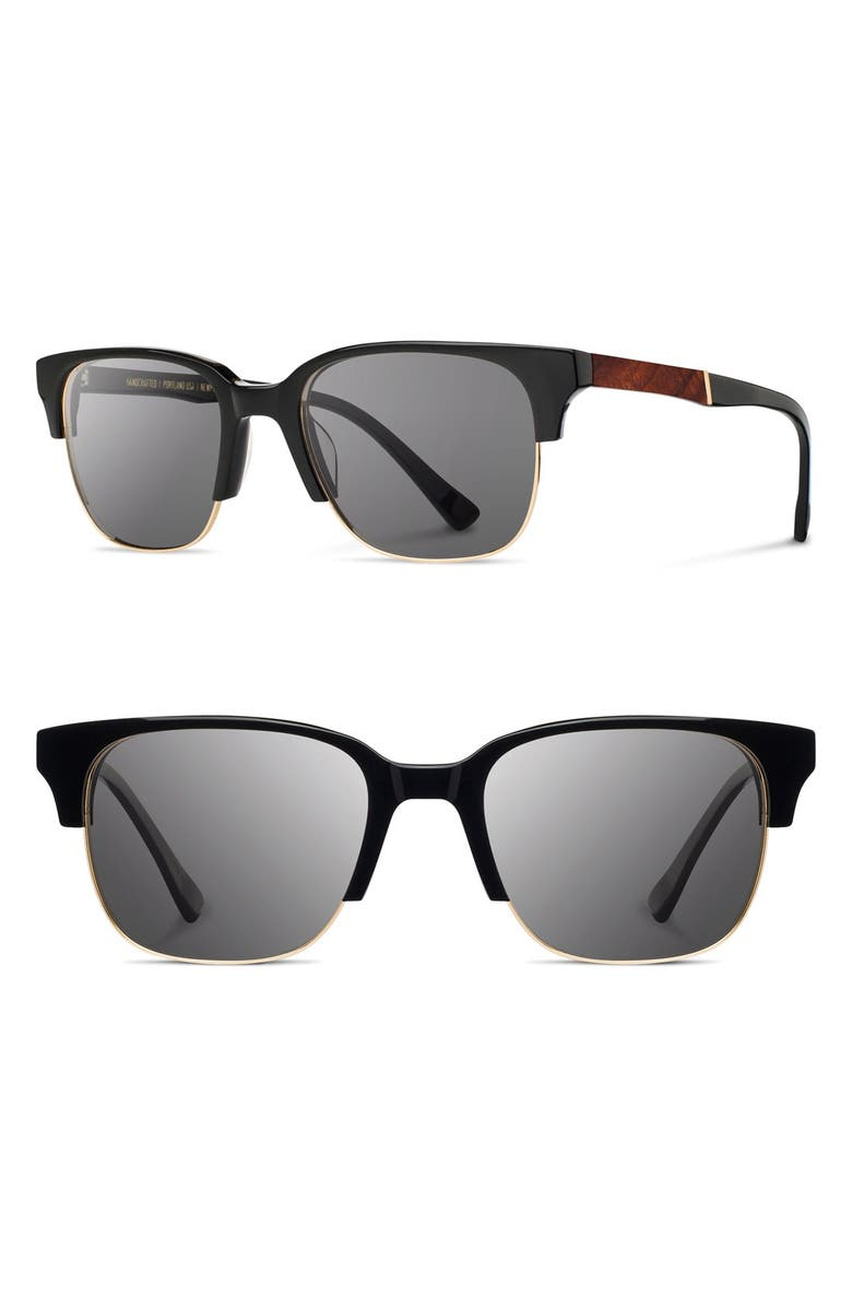 SHWOOD 'Newport' Sunglasses, Main, color, BLACK/ MAHOGANY/ GREY