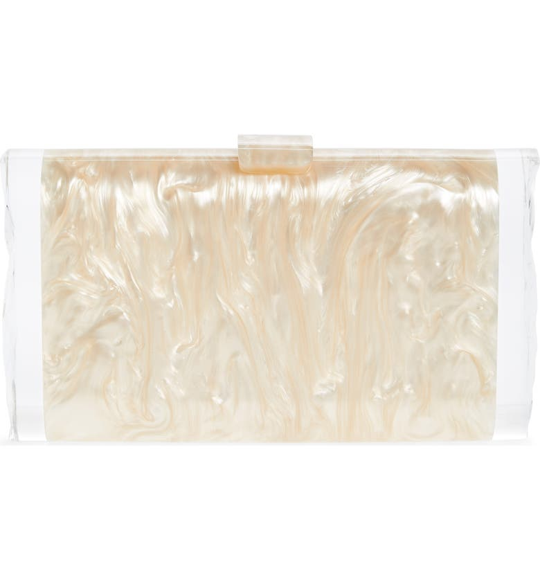 EDIE PARKER Lara Acrylic Clutch, Main, color, NUDE PEARLESCENT