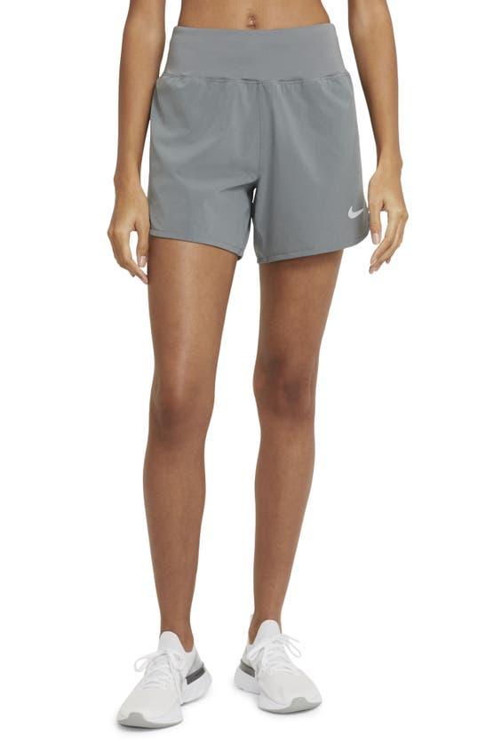 Nike Eclipse High Waist Running Shorts In Smoke Grey/ Reflective Silver