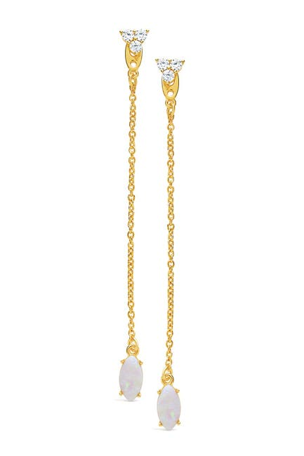 Image of Sterling Forever 14K Gold Plated Brass Opal Jacket Drop Earrings