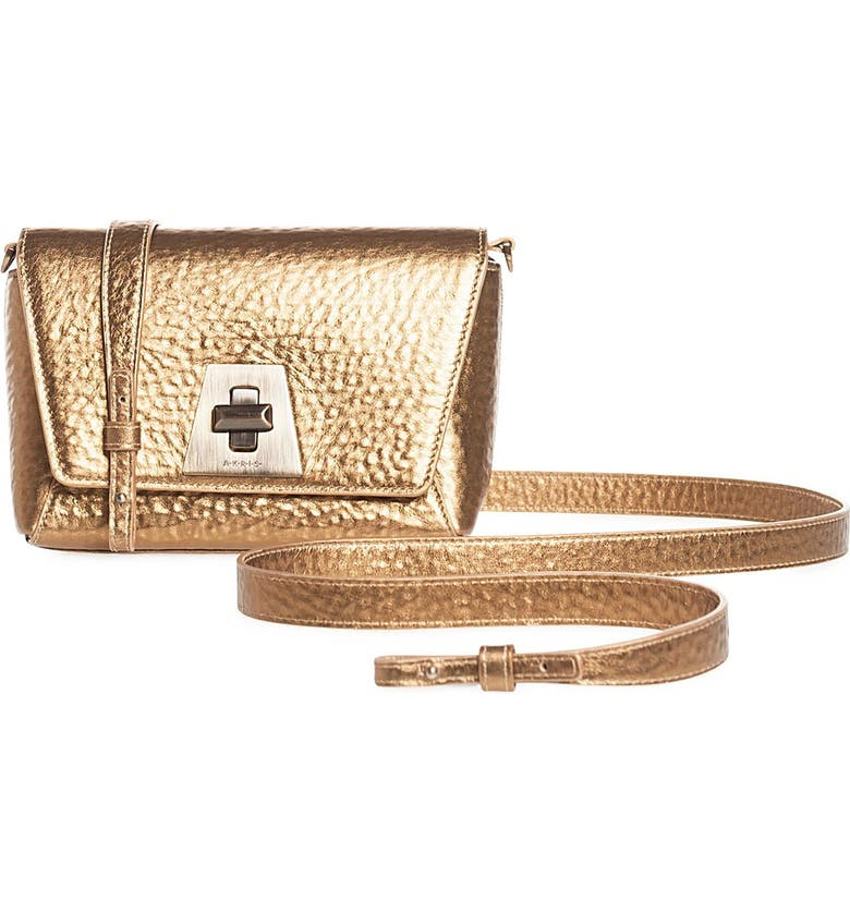 AKRIS Anouk Little Day Hammered Leather Crossbody Bag, Main, color, ANTIQUE GOLD