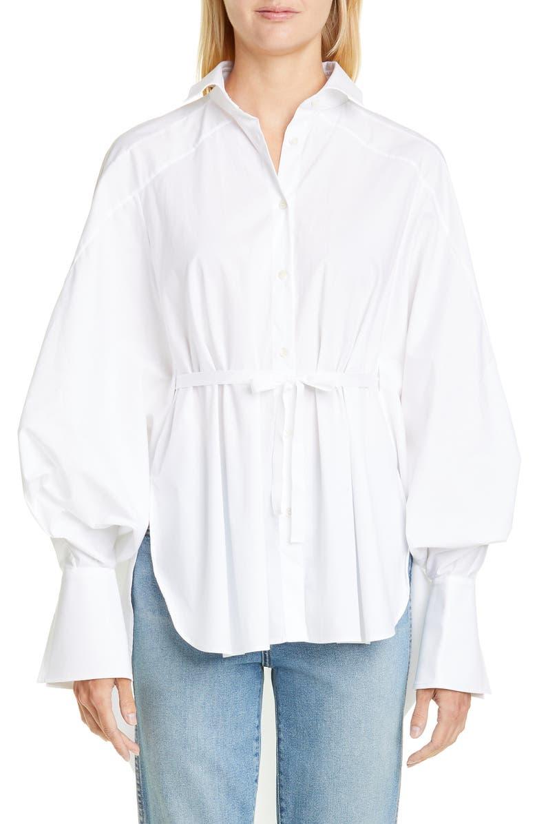 PALMER/HARDING Streep Belted High/Low Shirt, Main, color, WHITE POPLIN