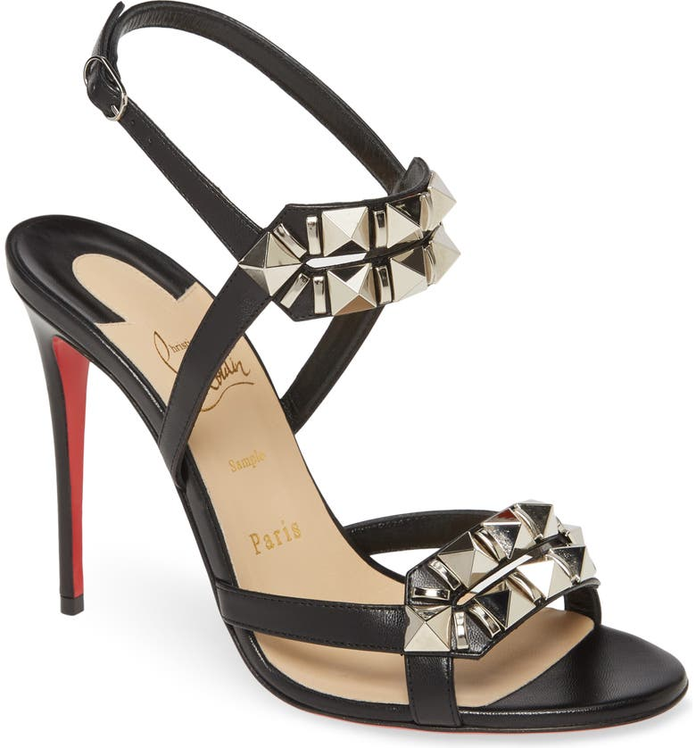 CHRISTIAN LOUBOUTIN Galerietta Studded Sandal, Main, color, BLACK/ SILVER