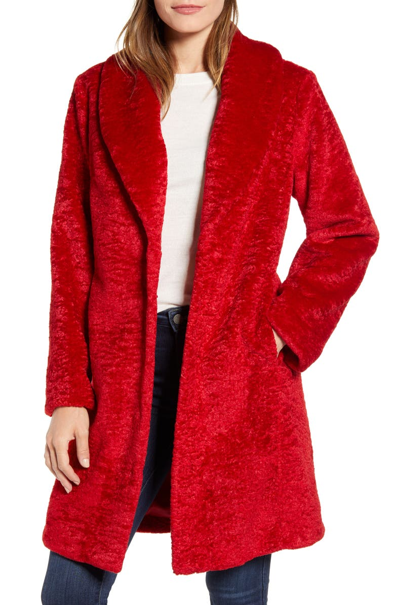 RACHEL PARCELL Faux Shearling Shawl Collar Coat, Main, color, RED SCARLET