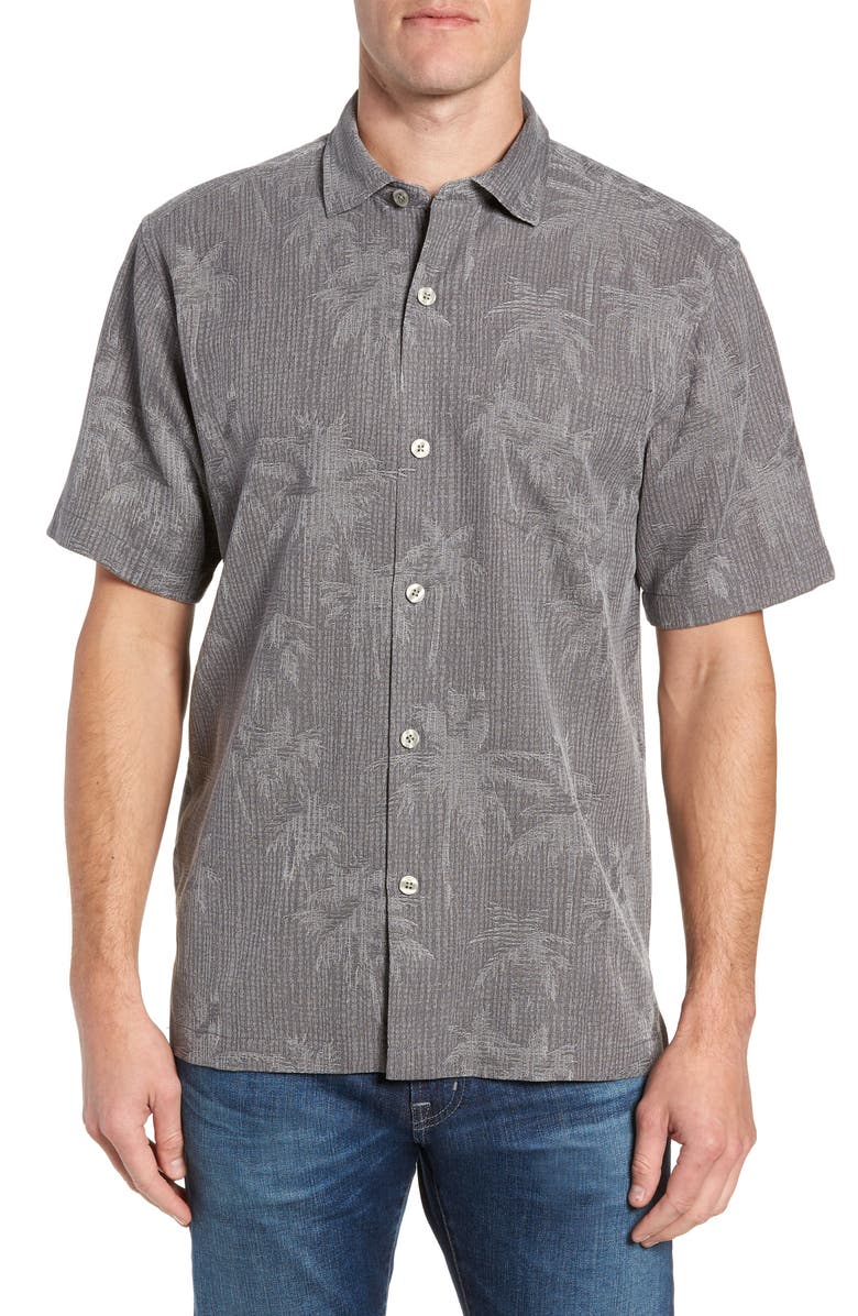 TOMMY BAHAMA Digital Palms Classic Fit Silk Shirt, Main, color, CAVE