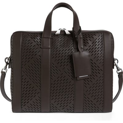 Bottega Veneta Perforated Calfskin Leather Briefcase - Black