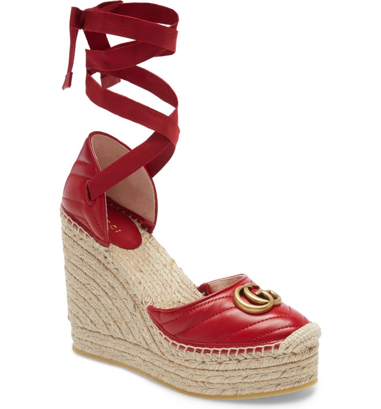GUCCI Palmyra Ankle Tie Espadrille Wedge, Main, color, RED