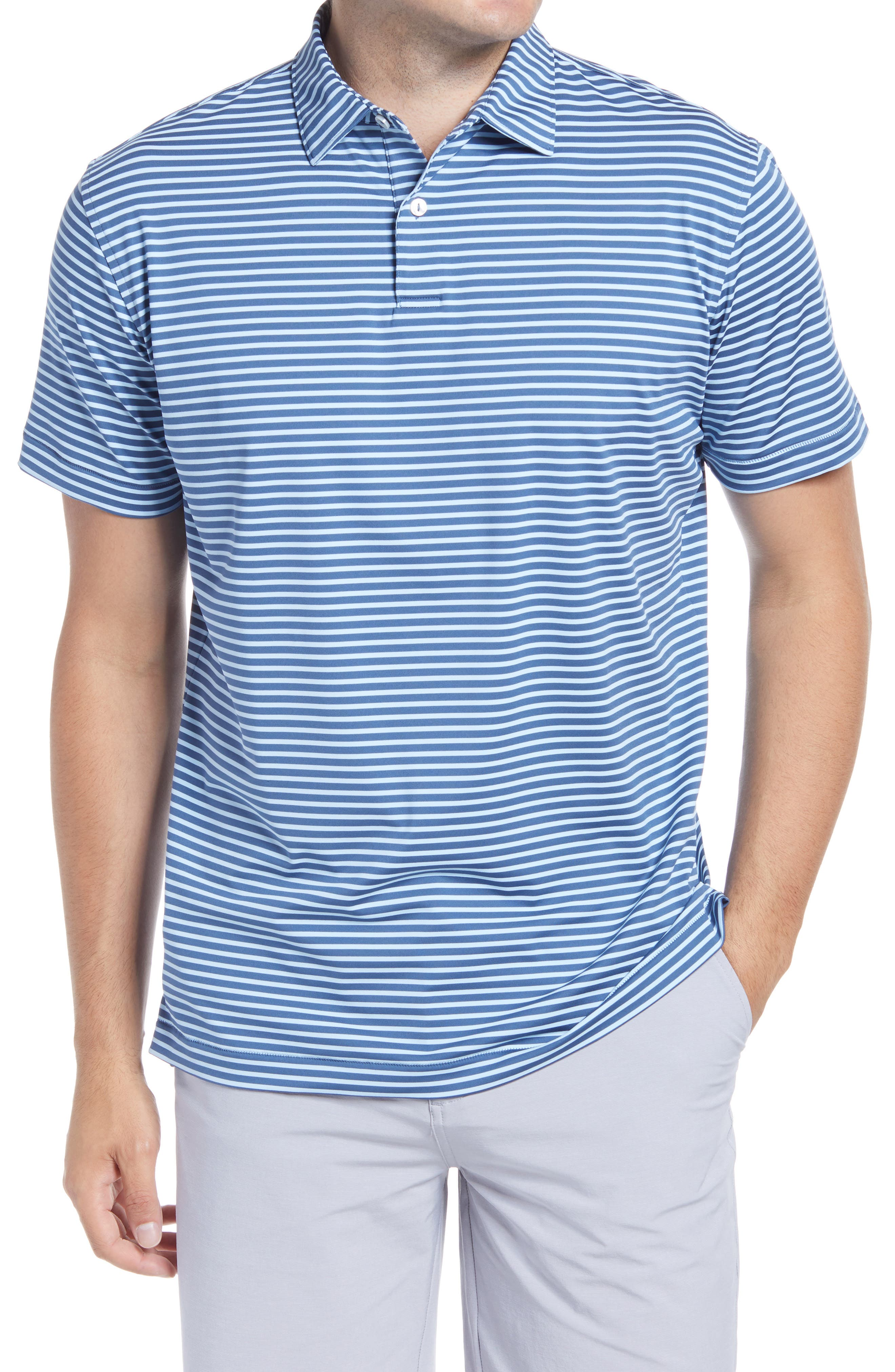 Hit the course and the clubhouse in style with this stretch-jersey polo patterned with narrow stripes. Style Name: Peter Millar Miles Stripe Short Sleeve Stretch Jersey Polo. Style Number: 6001265. Available in stores.
