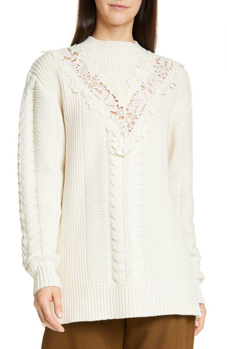 SEE BY CHLOÉ Lace Trim Wool Blend Sweater, Main, color, 740