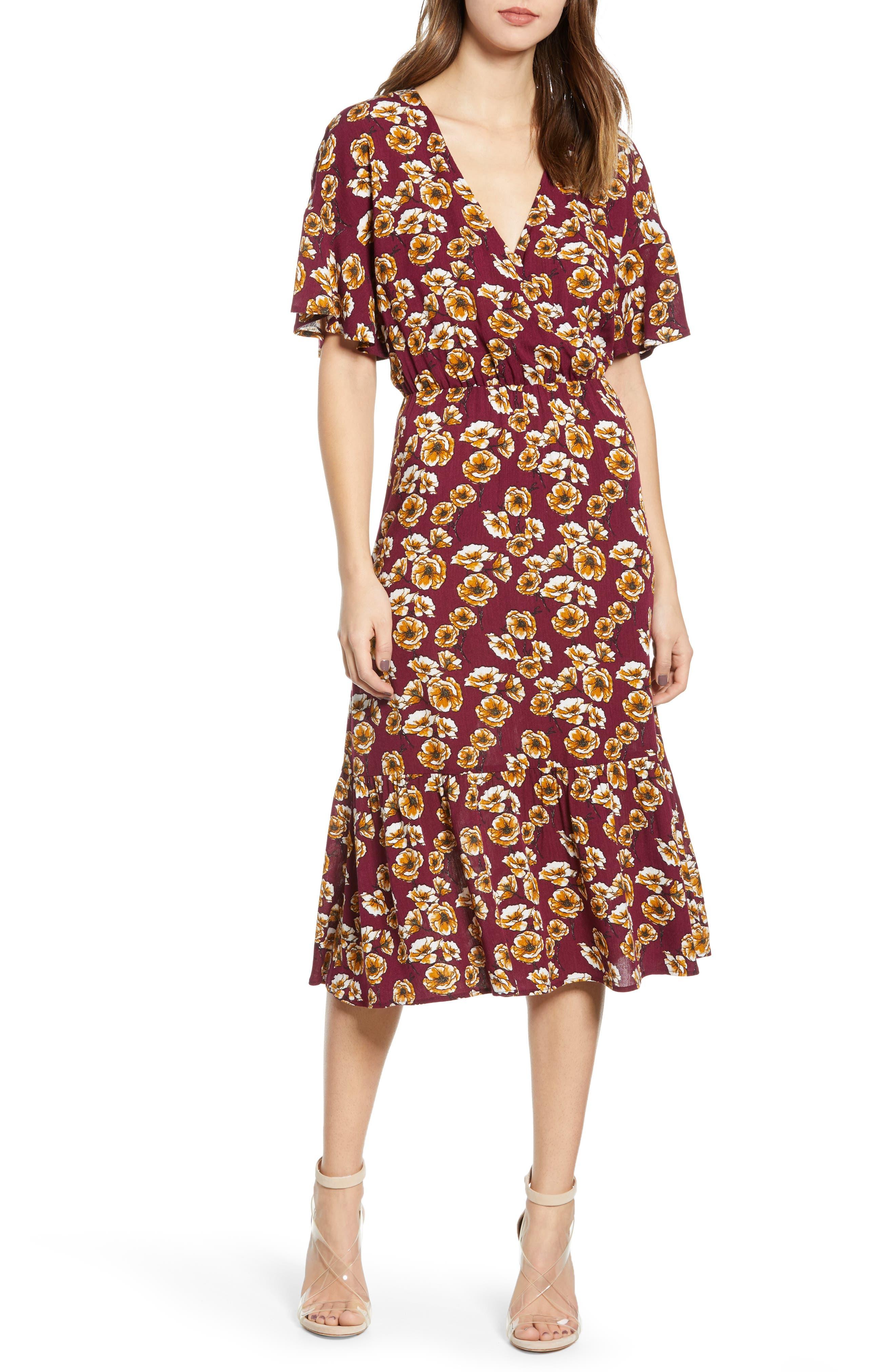 Surplice Midi Dress, Main, color, BERRY/ GOLD FLORAL