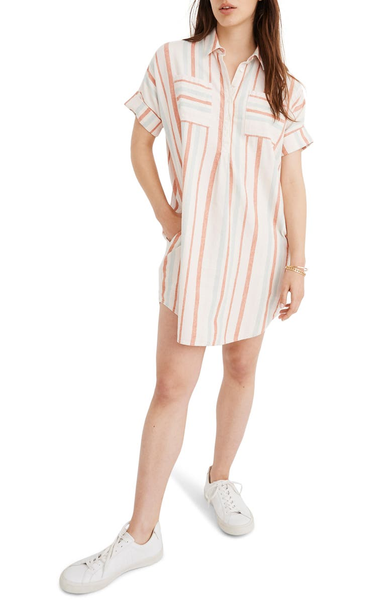 Courier Stripe Linen & Cotton Popover Dress by Madewell