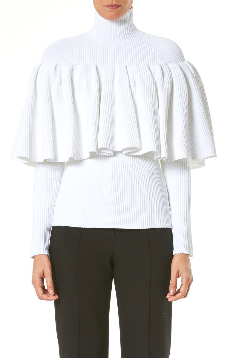CAROLINA HERRERA Ruffle Detail Rib Sweater, Main, color, WHITE