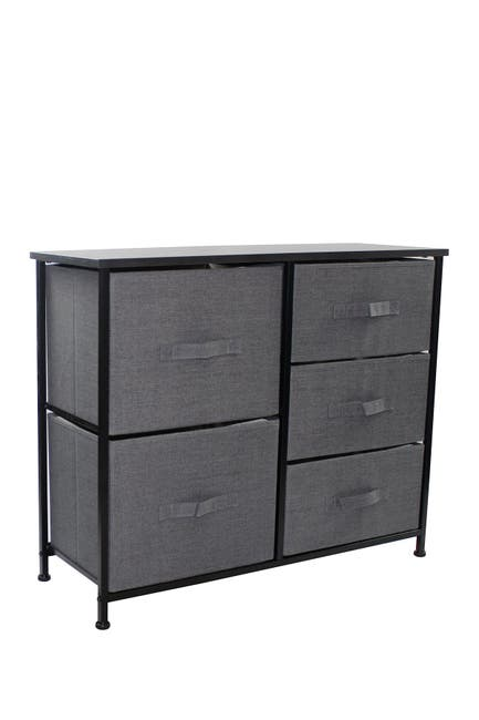 Image of Sorbus Black 5 Drawer Chest Dresser
