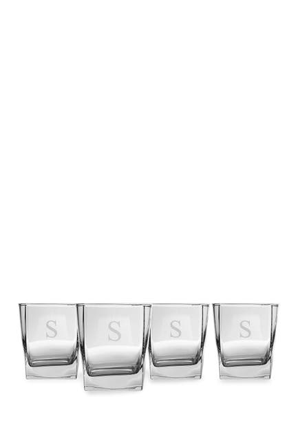 Image of Cathy's Concepts Monogram Rocks Glasses (Set of 4) - Multiple Letters Available