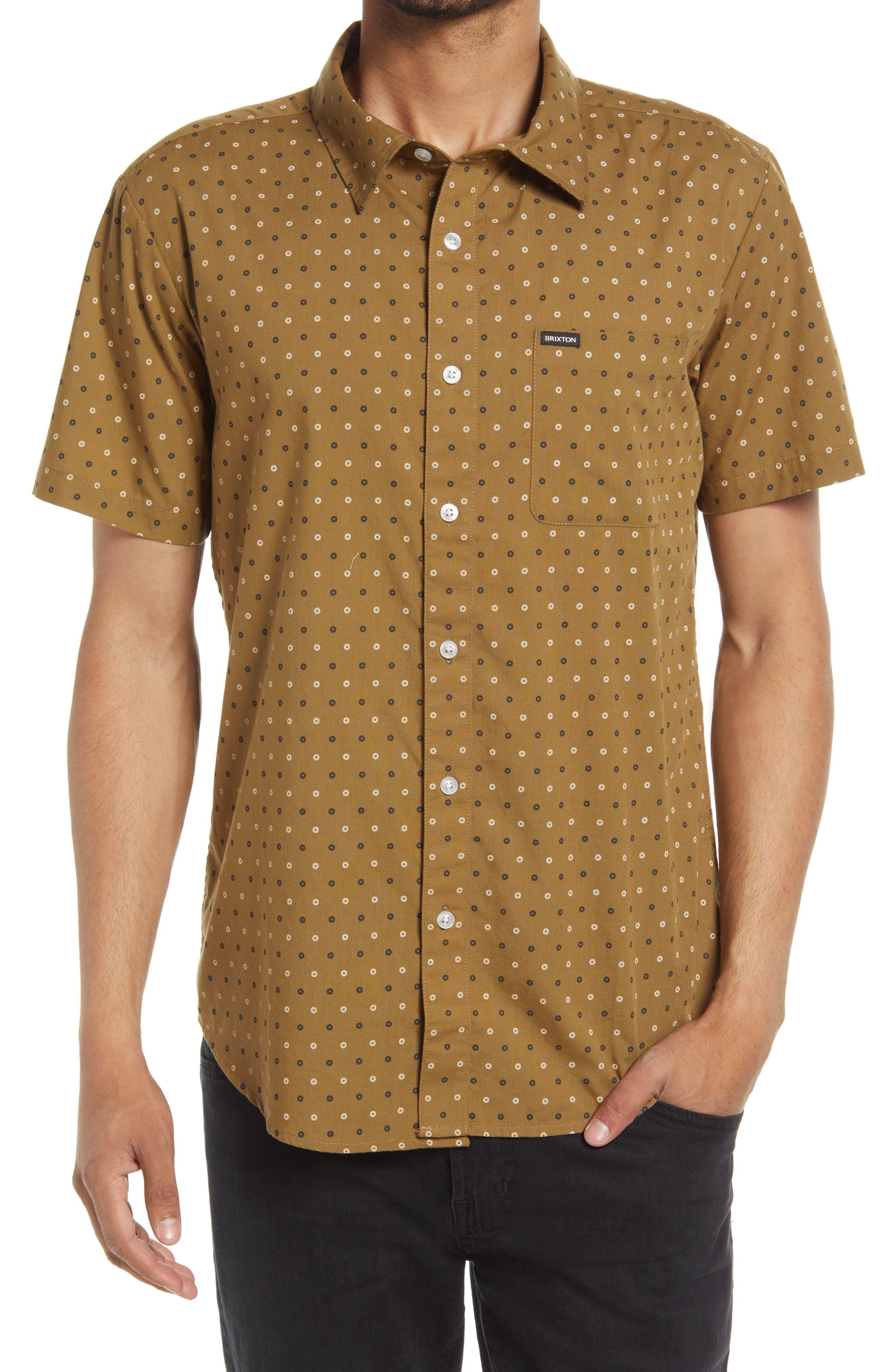 Charter Print Short Sleeve Cotton Blend Button-Up Shirt
