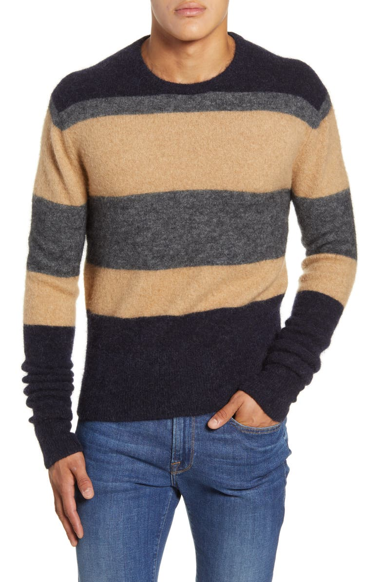 TODD SNYDER Textured Crewneck Sweater, Main, color, NAVY