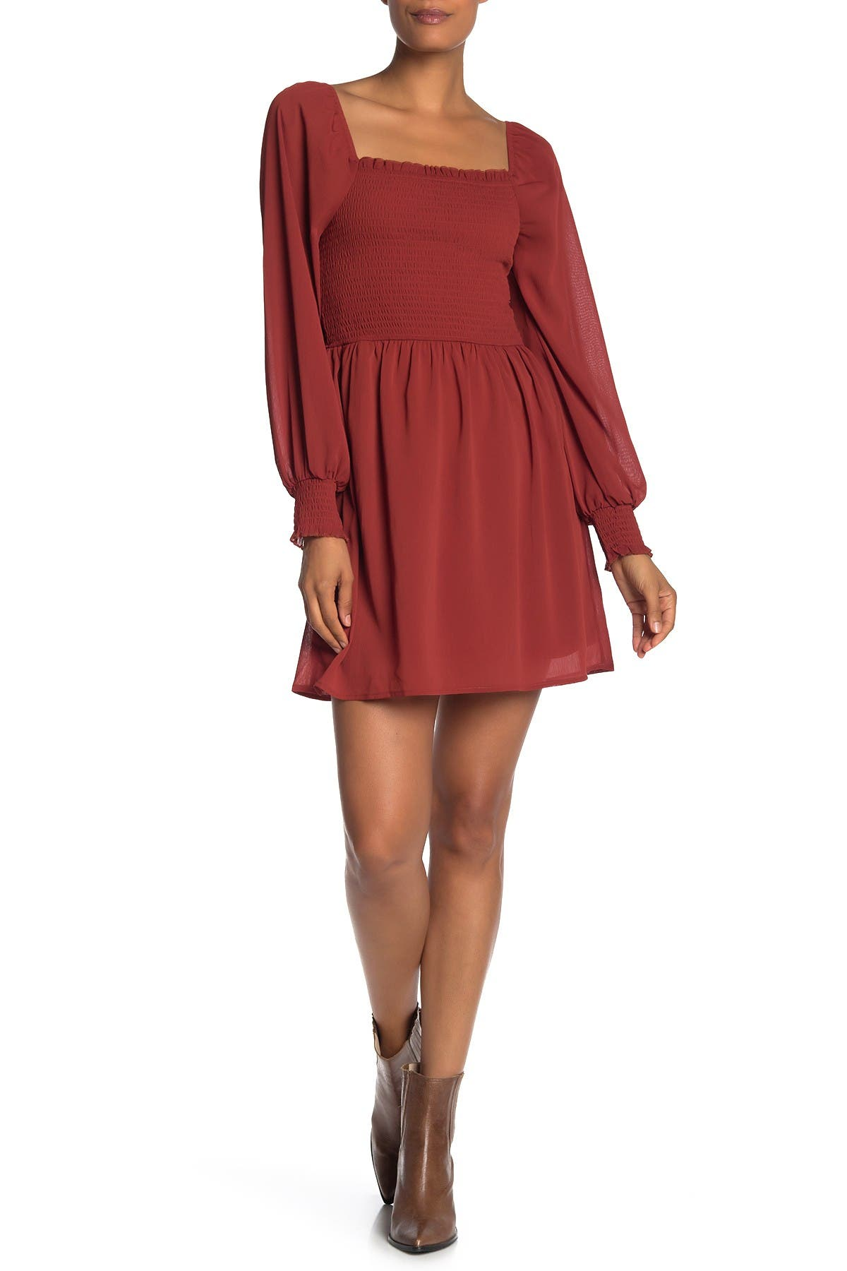 Image of KENEDIK Smocked Square Neck Dress