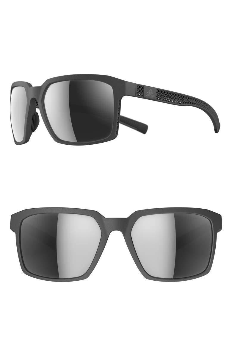 ADIDAS Evolver 3DF 60mm Mirrored Sunglasses, Main, color, GREY/ CHROME