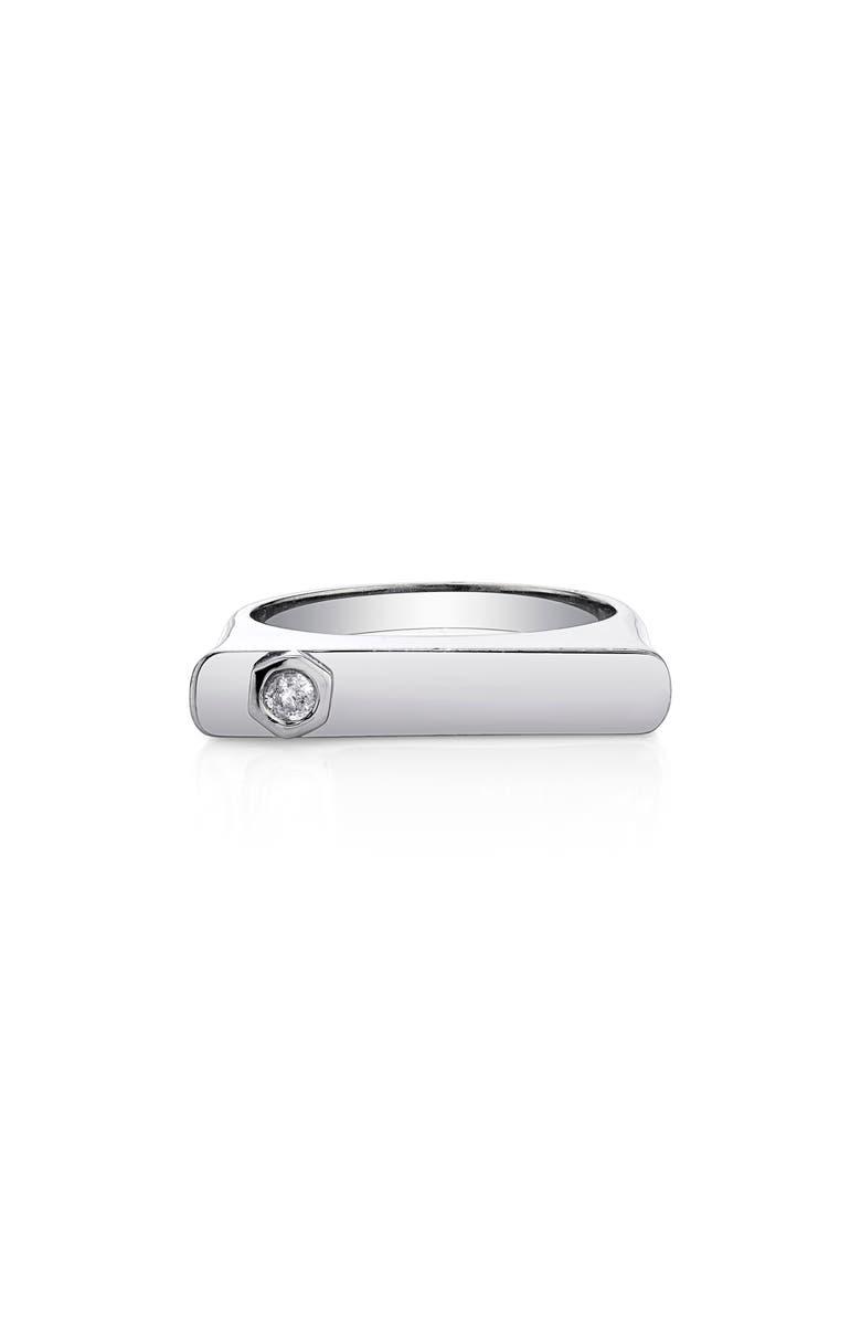 SHERYL LOWE Bezel Diamond Bar Ring, Main, color, STERLING SILVER