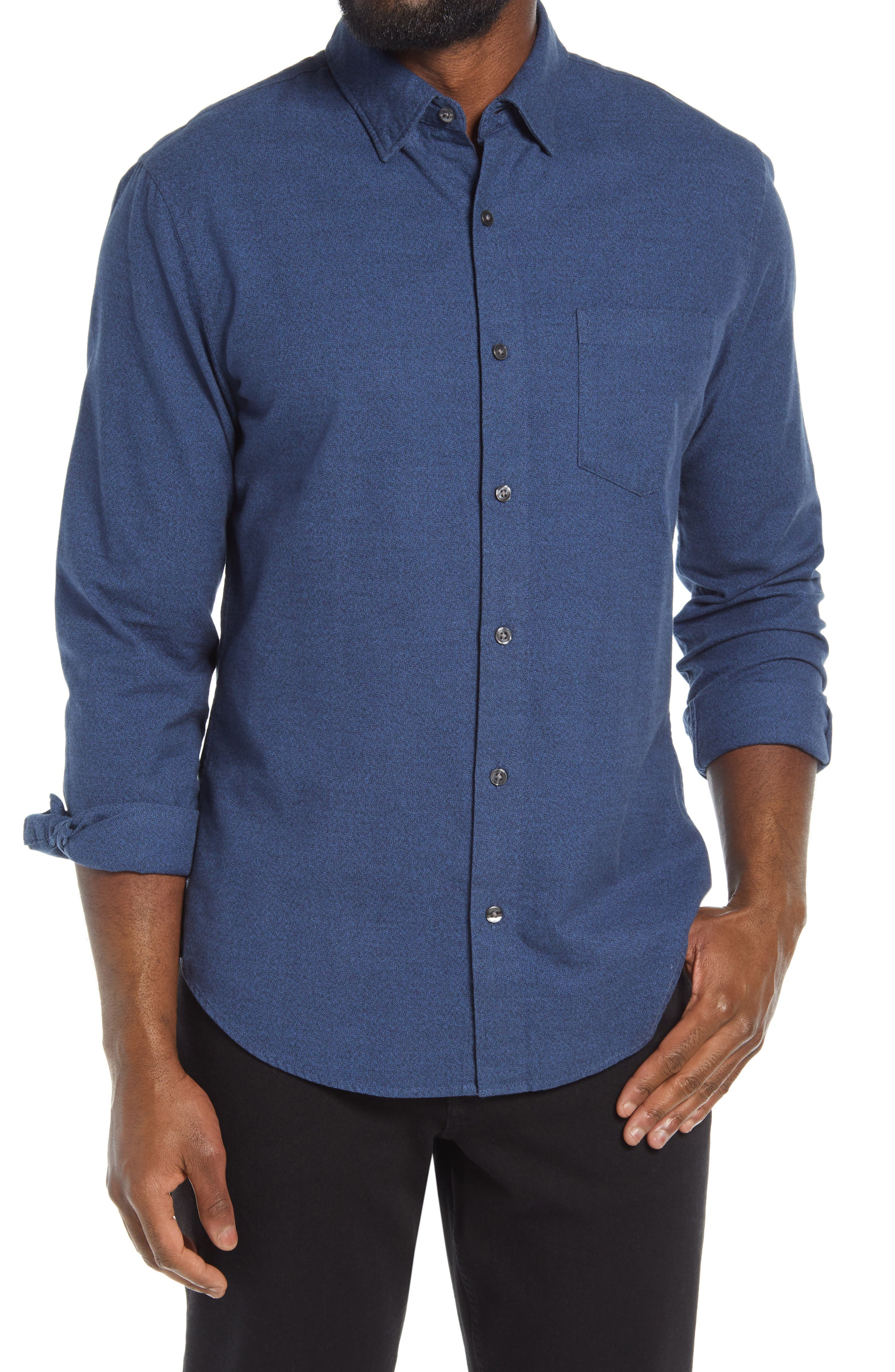 Brushed cotton with denim-like color variations gives a soft and casual look to this slim-fitting shirt. Style Name: Bonobos Slim Fit Button-Up Shirt. Style Number: 6003120. Available in stores.