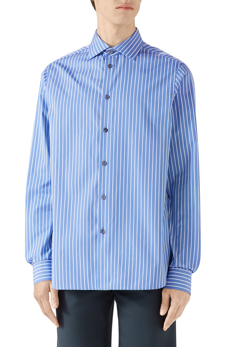 GUCCI Stripe Button-Up Shirt, Main, color, PARLOUR/WHITE