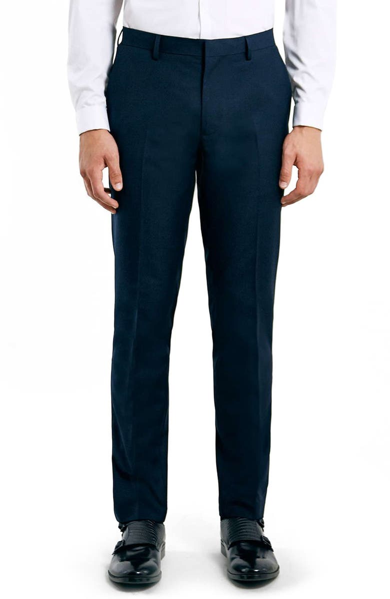 TOPMAN Skinny Fit Navy Suit Trousers, Main, color, 410