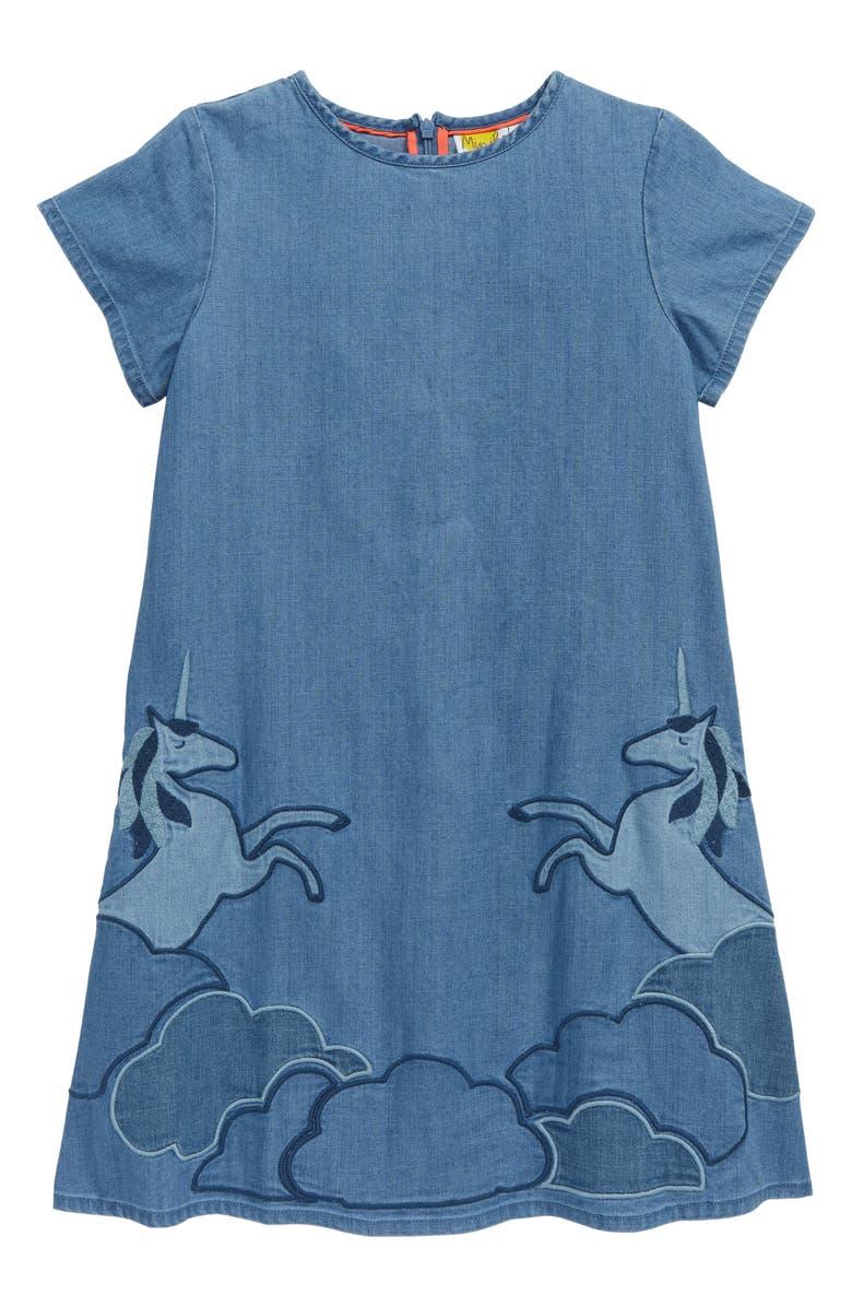 MINI BODEN Unicorn Appliqué Woven Dress, Main, color, MID VINTAGE DENIM