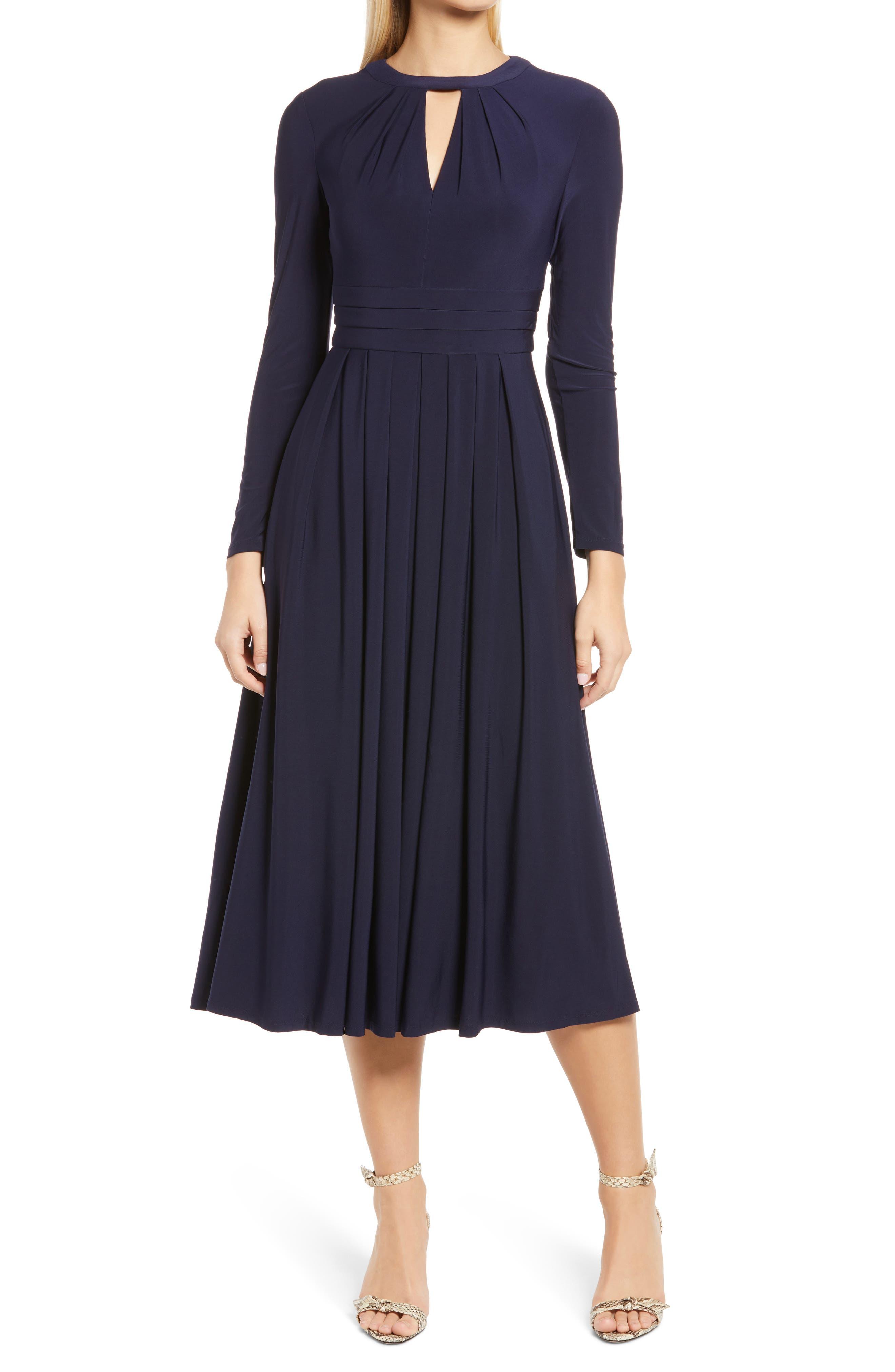 Pleated Keyhole Long Sleeve Fit & Flare Dress
