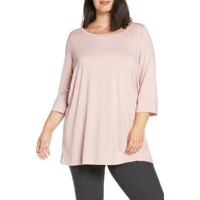 Plus Size Eileen Fisher Ballet Neck Tunic Top, Pink