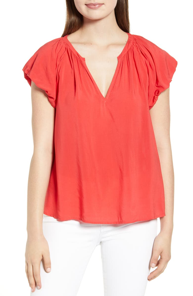 VELVET BY GRAHAM & SPENCER Puff Sleeve Split Neck Blouse, Main, color, 647