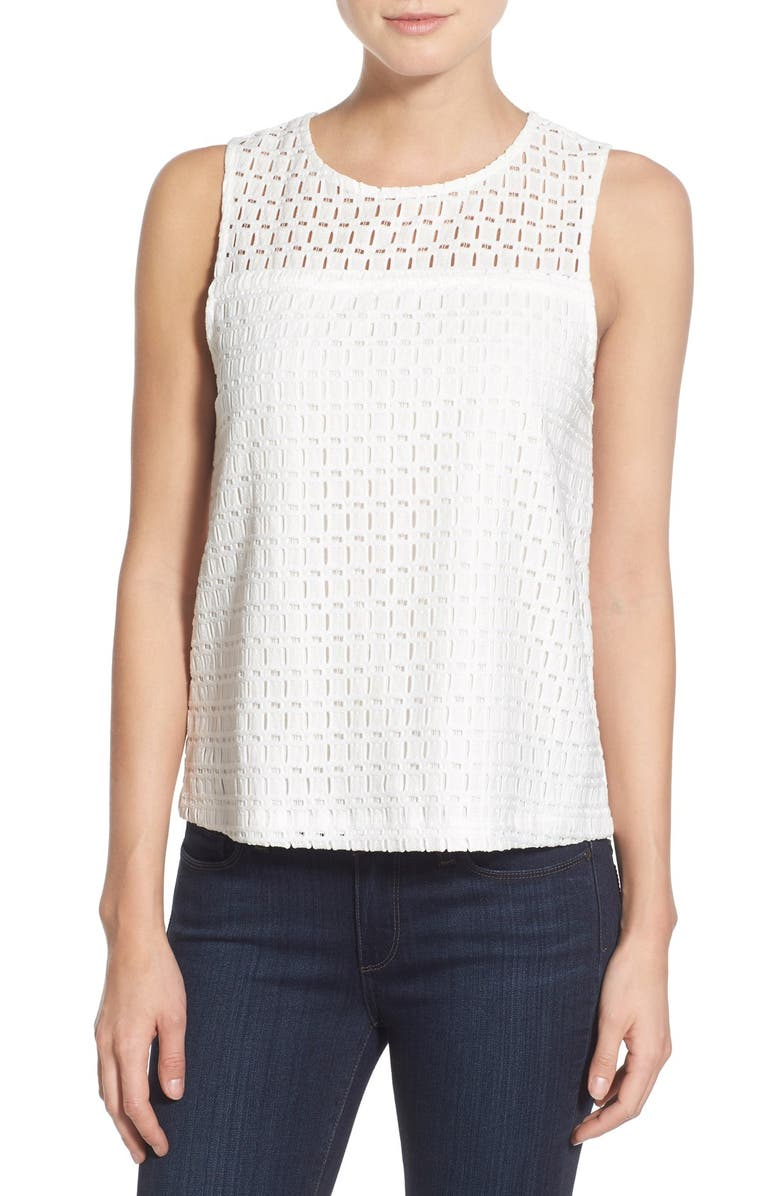 CUPCAKES AND CASHMERE 'Playa' Eyelet Tank, Main, color, 101