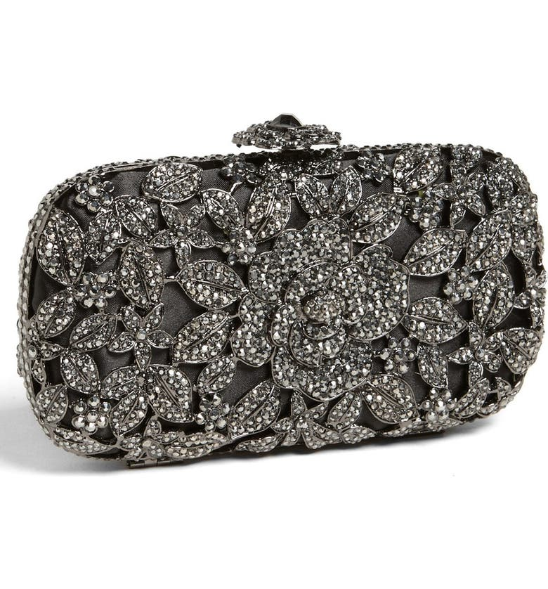 ZZDNU NATASHA COUTURE Natasha Couture Crystal Caged Floral Clutch, Main, color, 001