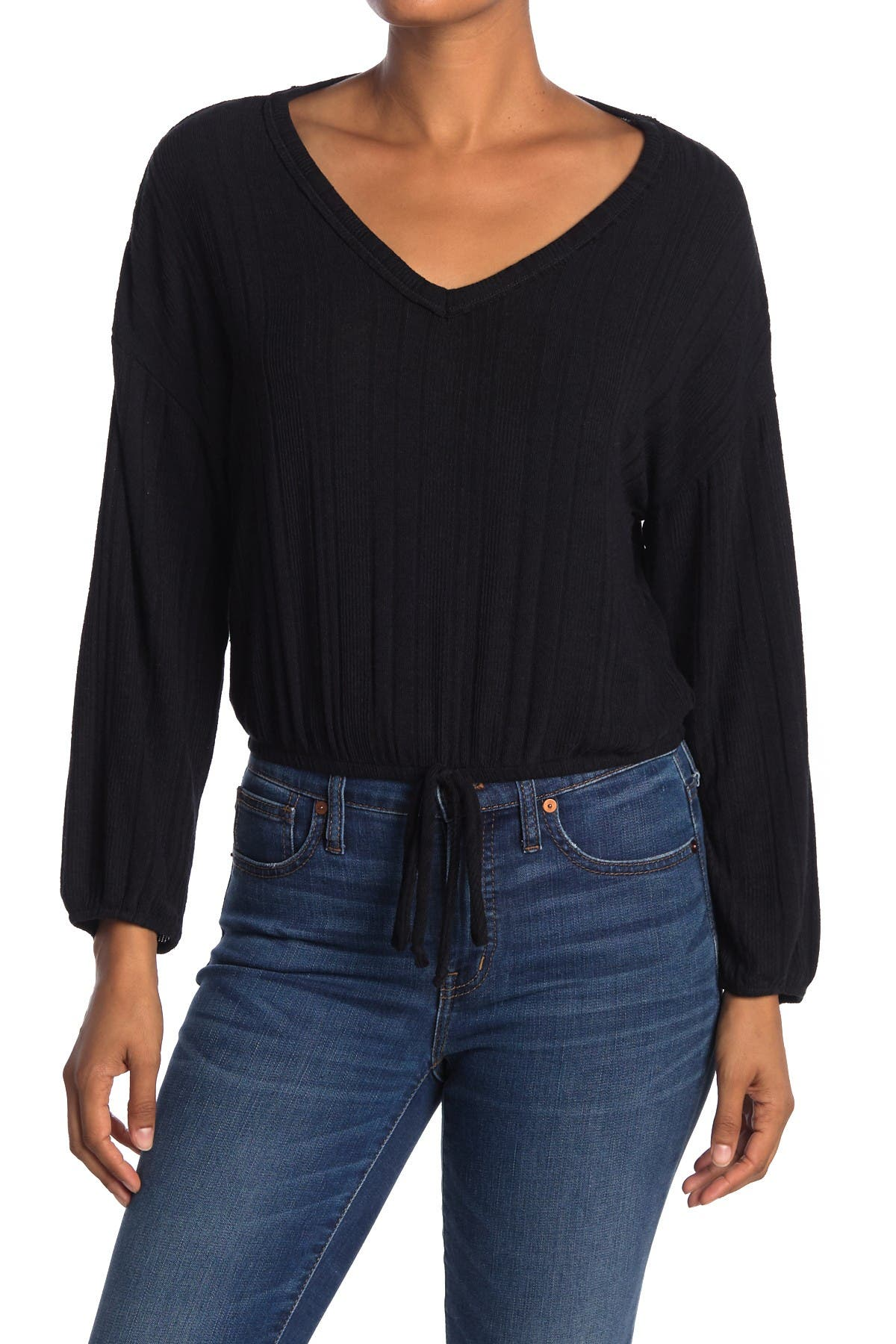 Image of WHITE WILLOW Long Sleeve Drawstring Top